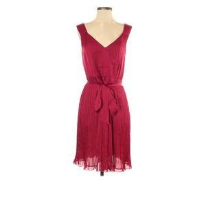 WHBM satin pintuck Pink Dress